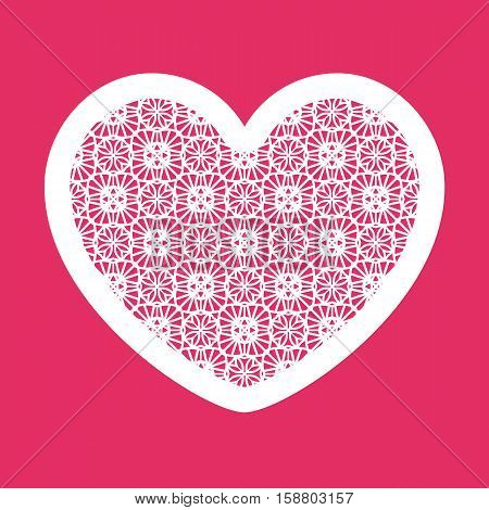 Valentine Heart With Geometric Pattern. Laser Cutting Template For Greeting Cards