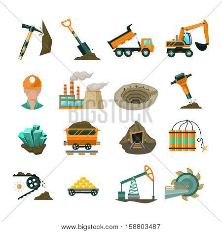 Coal miner equipment flat pictograms set with demolition hammer and railway cargo car abstract isolated vector illustration