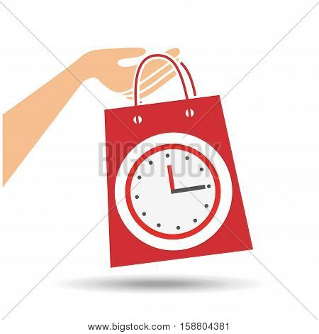 hand holds bag gift clock design vector illustration eps 10