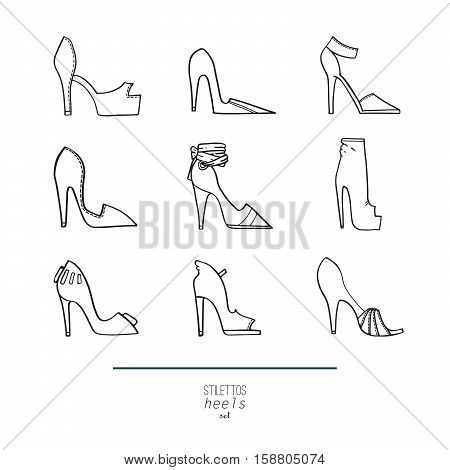 Beautiful set of isolated on background flat vector shoes hand drawn in stylish collection of stiletto heels. Fashion illustration good for creative design. Black and white image on white background.