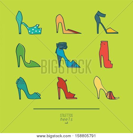 Beautiful set of isolated on background flat vector shoes hand drawn in stylish collection of stiletto heels. Fashion illustration good for creative design. Color image in bright colors on green.