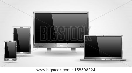 Monitor laptop and tablet of steel or other metal. Set of realistic objects in vector graphics