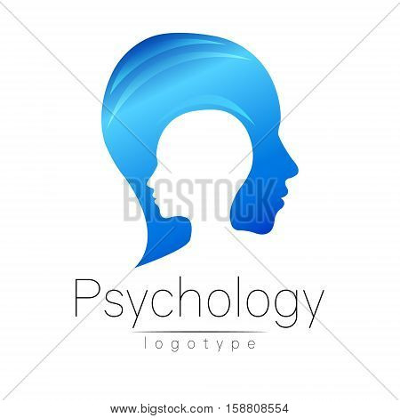 Modern head logo of Psychology. Profile Human. Creative style. Logotype in vector. Design concept. Brand company. Blue color isolated on white background. Symbol for web, print, card. Keyhole