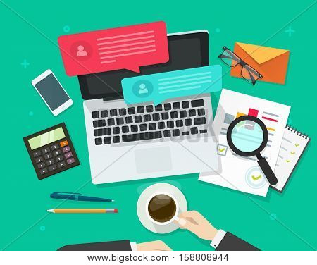 Person working on desk on laptop with chatting notifications and analytics data on table vector illustration, social media marketing analysing, online dialog, statistics research, workplace table