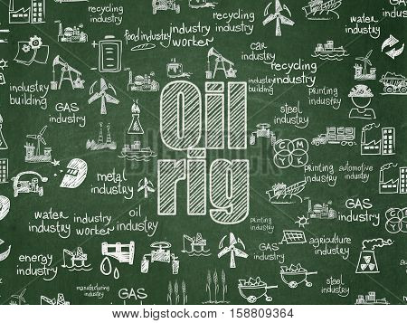 Industry concept: Chalk White text Oil Rig on School board background with  Hand Drawn Industry Icons, School Board