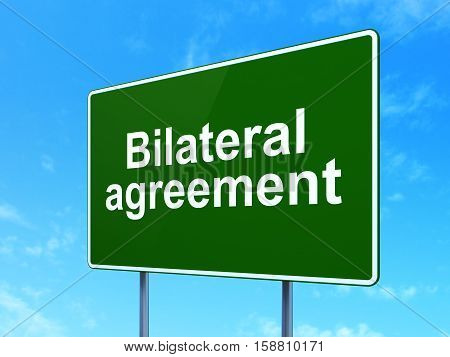 Insurance concept: Bilateral Agreement on green road highway sign, clear blue sky background, 3D rendering