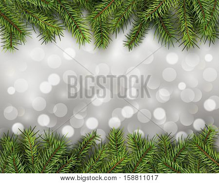Christmas abstract background blinking bokeh with pine tree.