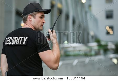 Male security guard, outdoor