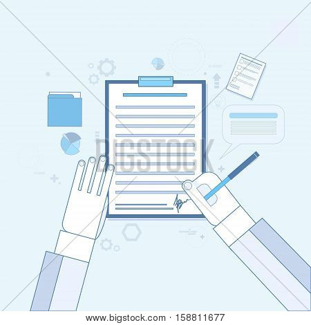 Contract Sign Up Paper Document Business Agreement Pen Signature Office Desk Vector Illustration