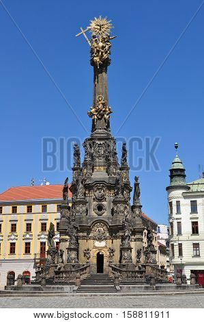 Main square of the Olomouc  city Horni namesti with Holy Trinity Column