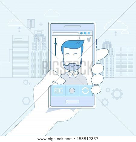 Hand Hold Cell Smart Phone Application Online Photo Editor Vector Illustration