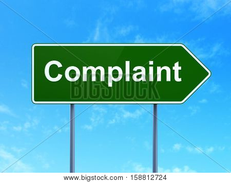 Law concept: Complaint on green road highway sign, clear blue sky background, 3D rendering