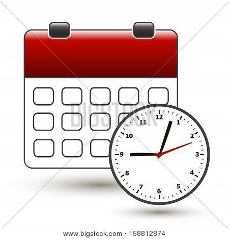 tear-off calendar with clockface on a white