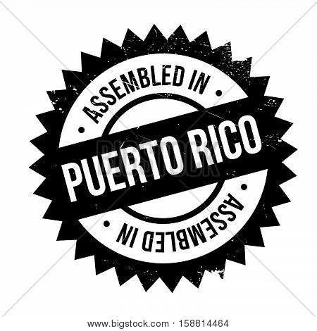 Assembled In Puerto Rico Rubber Stamp