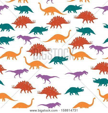 Colorful Dinosaurus Seamles Pattern Background. Vector illustration