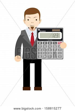 Accountant or manager shows the calculator to work