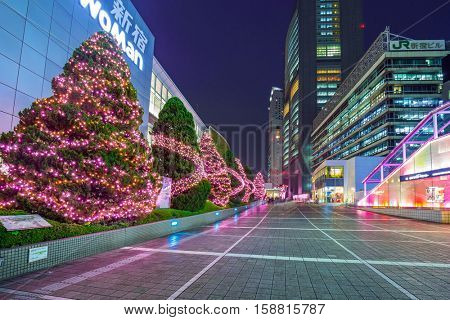 TOKYO, JAPAN - NOVEMBER 14, 2016: Christmas decorations at Shinjuku train station of Tokyo, Japan. Tokyo Metropolis is both the capital and most populous city of Japan.