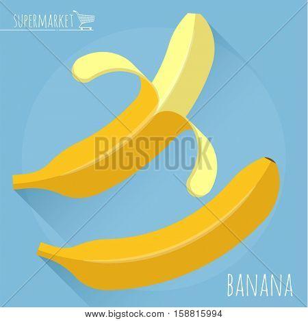 Flat design ripe fresh banana vector icon with long shadow