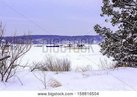 Lobster Boats frozen in ice in the harbor