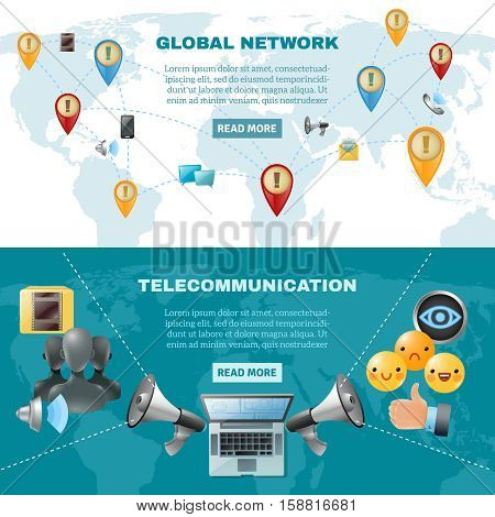 Social media horizontal banners with methods and ways of global communication vector illustration