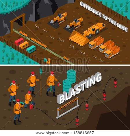 Isometric horizontal banners presenting miner people machinery and process of blasting isolated vector illustration