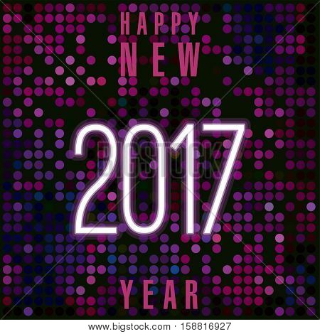 Christmas and New Year 2017 modern greeting card vector template.