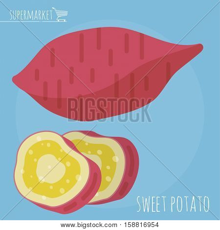 Flat design sweet potato vector icon template