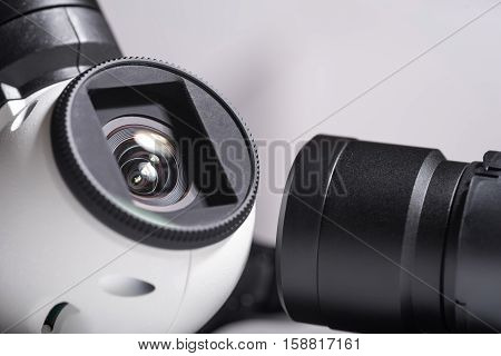 Watch everything. Close up of drone camera lenses as a part of mechanism