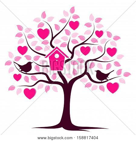 vector heart tree with nesting bird box and couple of birds isolated on white background