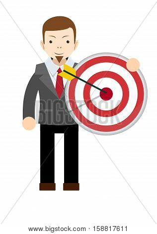 Business man holding big aim target. Stock vector illustration