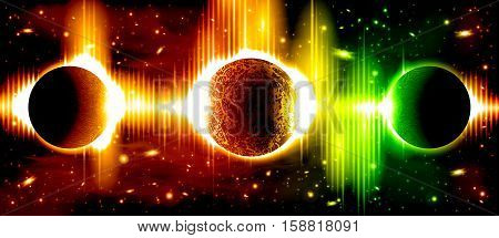 A retro outer space background with planets, sky and stars. Layered. poster