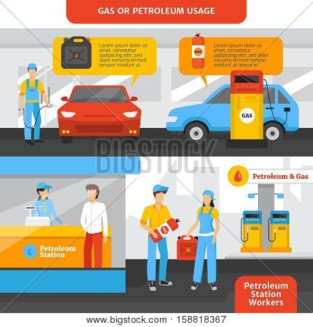 Gas station workers horizontal banners set with people and cars flat isolated vector illustration