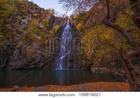 Seyhandede Waterfalls in Diyarbakir Province, Turkey assume a dramatic look in the autumn.