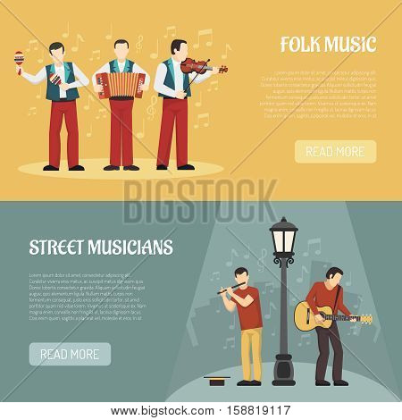 People playing musical instruments two horizontal banners with street musicians and folklore performers flat vector illustration