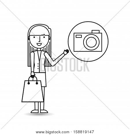 drawing girl shopping with camera vector illustration eps 10
