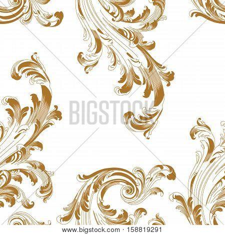 Seamless pattern, vintage seamless pattern,  baroque seamless pattern,  scroll seamless pattern, leaf seamless pattern, vine seamless pattern, decor seamless pattern. Vector illustration.