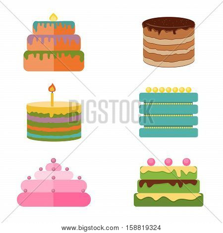 Set of colorful tasty pieces cakes pies and other bakery desserts icons. Chocolate cakes and sweet cakes dessert. Birthday bakery delicious and tasty decorations cakes icons. Flat cakes.