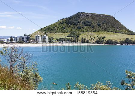 The view of Maunt Maunganui next to the same name resort town (New Zealand).