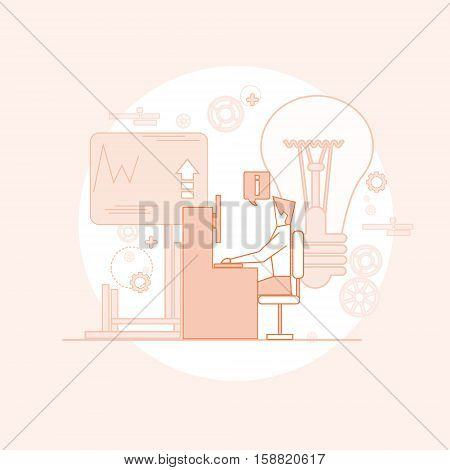 Business Man Board Finance Graph Working Laptop Computer Professor Teacher Seminar Training Conference Vector Illustration