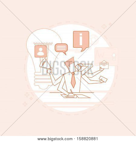 Busy Multitasking Manager Business Man With Many Hands Thin Line Vector Illustration