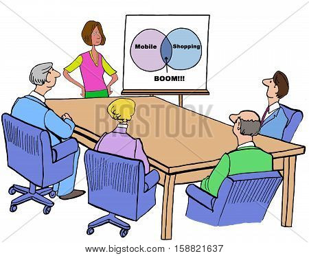 Color business illustration of a businesswoman telling meeting attendees that mobile shopping is booming.
