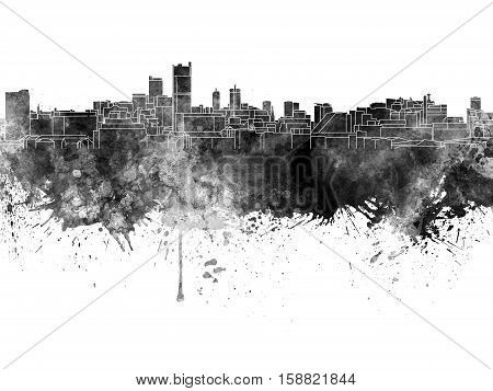 Leeds skyline in black watercolor on white background