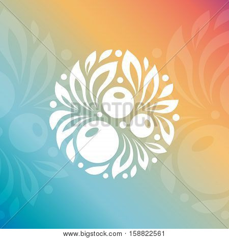 Natural cosmetics logo. Berry with leaves. Round emblem. Vector circle logo template. Alternative medicine symbol