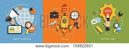 infographics background business. Business concept. Set icons Digital marketing start up business idea.