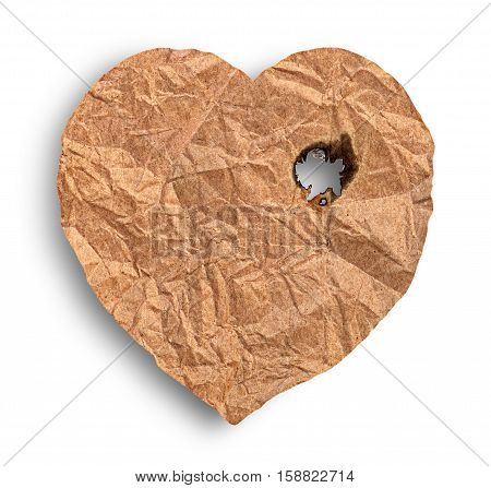 Scorched crumpled paper heart isolated on white background