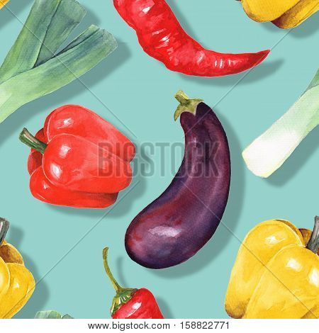 Watercolor vegetables. Hand drawn seamless pattern 11