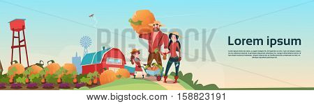 Farmers Parents And Daughter Gather Harvest Farm Background Flat Vector Illustration