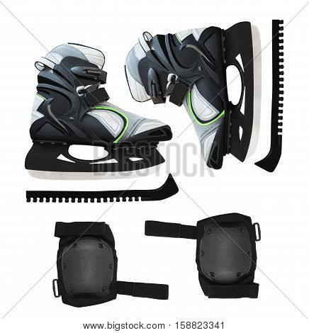 Set of black ice skates and protective accessories isolated on white background