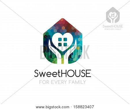 Sweet home logo template. House silhouette with hand and heart shapes in negative style. Concept for care security protection of house buildings and cottage.