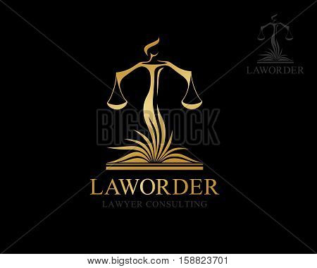 Themis with balance on the lawbook. Law firm logo template. Concept for legal firms notary offices or justice companies